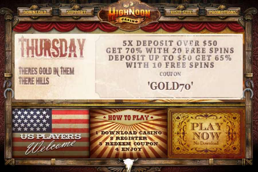 High Noon Casino Thursday 65 70 Deposit Bonus Free Spins