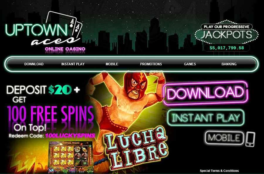 Uptown Aces Casino 100 Free Spins On Lucha Libre
