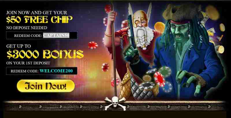 Captain Jack Casino 50 Free Chip 3000 Deposit Bonus