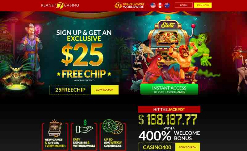 Planet 7 Casino 25 Free Chip No Deposit Code 25freechip